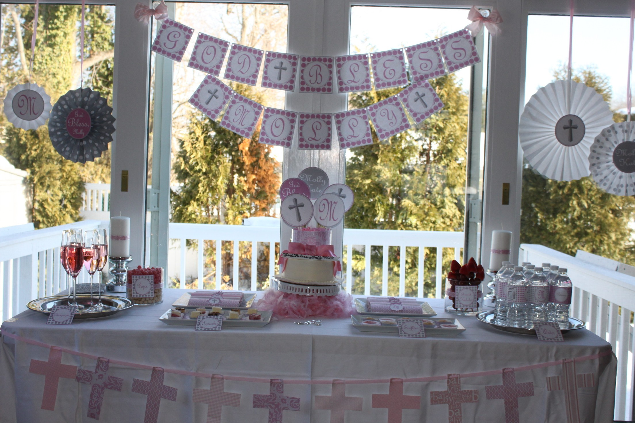 Molly s christening party partying with the princesses - Baptism party decoration ideas ...