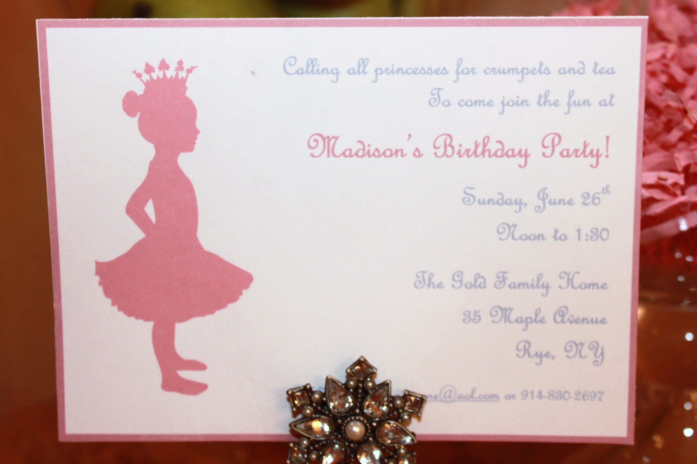 Princess Tea Party – Tea Birthday Party Invitations